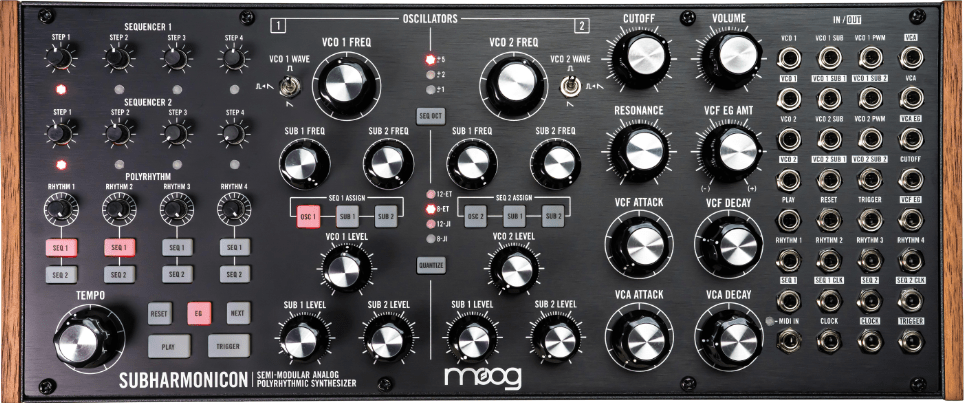 Demonstrates the interface of the Moog Subharmonicon semi-modular analogue synthesizer.