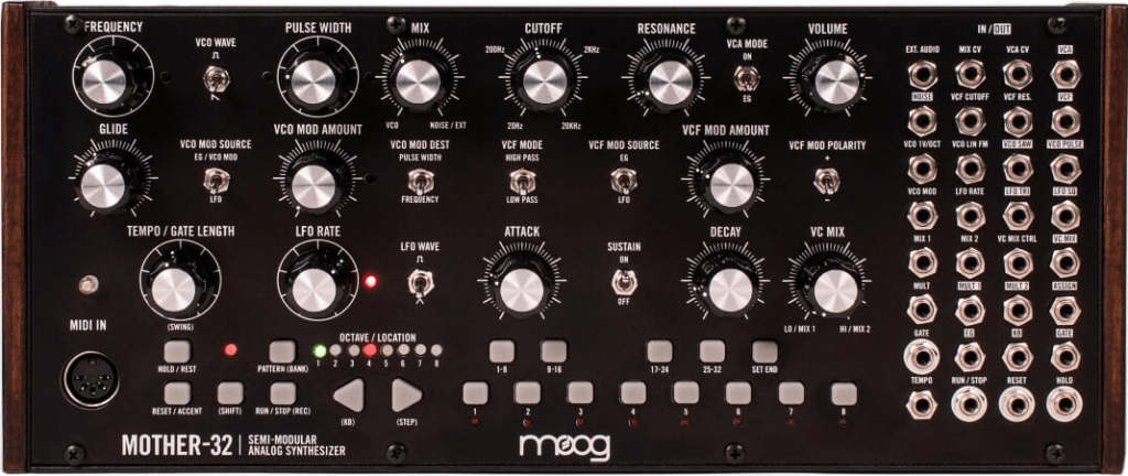 Demonstrates the interface of the Moog Mother 32 semi-modular analogue synthesizer.