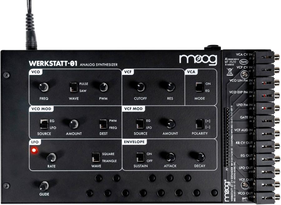 Demonstrates the interface of the Moog Werkstatt-01 semi-modular analogue synthesizer.