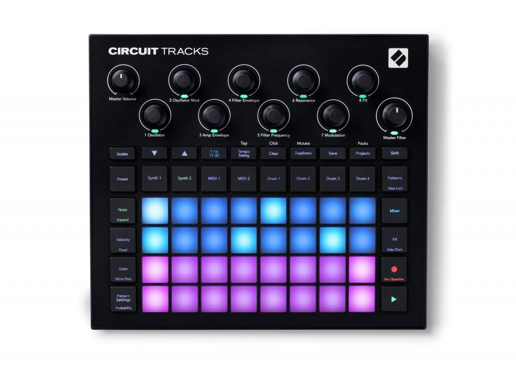 Front panel view of the Novation Circuit Tracks groovebox.